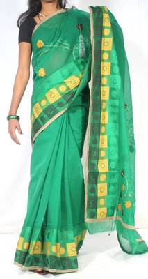 Banarasi chanderi cotton fancy handwork border saree