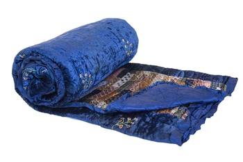 Velvet Blanket Blue Jaipur Razai Quilts By Reme