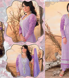 Buy Hypnotex Purple Georgette+Net Semi Stitch Dress Alpita1813 dress-material online