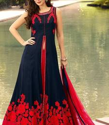 Buy Navy blue embroidered taffeta silk semi stitched salwar with dupatta dress-material online