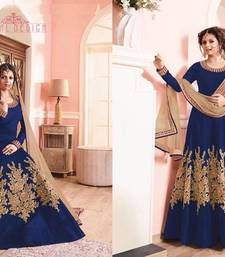Buy Blue embroidered banglori silk semi stitched salwar with dupatta dress-material online