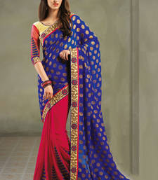 Buy A Wonderful Georgette Saree In Blue and pink Colour Shade georgette-saree online