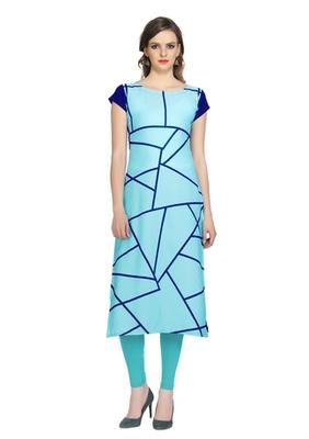 blue faux crepe crepe stitched kurtis