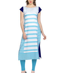 blue stripes print crepe stitched kurtis