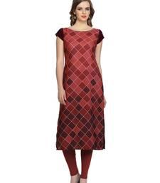 maroon geometric print crepe stitched kurtis