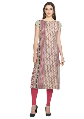 grey faux crepe crepe stitched kurtis