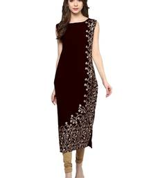 maroon floral print crepe stitched kurtis