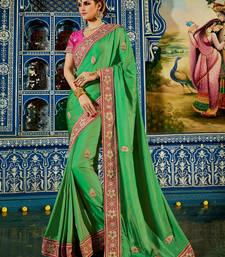 Buy Green embroidered satin saree with blouse satin-saree online
