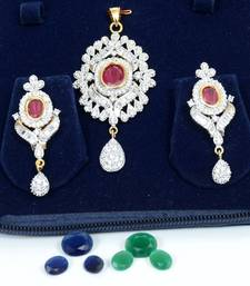 Buy Suave American Diamond Pendant Set Pendant online