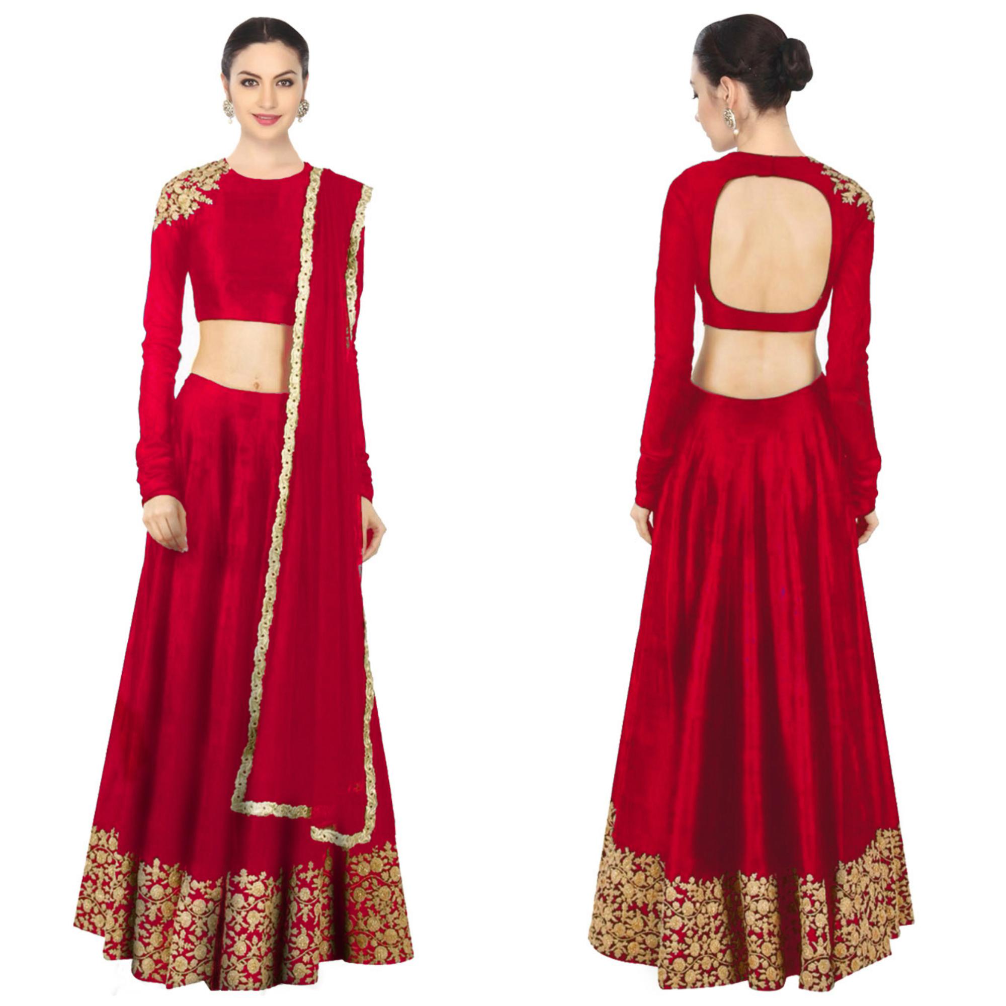 daedb14141296 Rozy Fashion red embroidered raw silk semi stitched lehenga choli material  with matching net dupatta - Rozy Fashion - 1757115