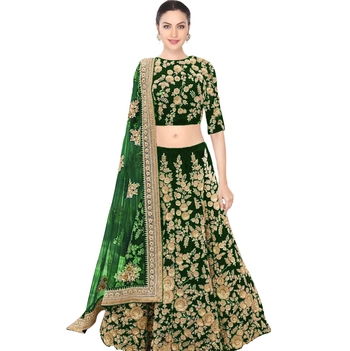 7370d49ea1 Rozy Fashion Green embroidered semi velvet semi stitched lehenga choli  material with matching net dupatta - Rozy Fashion - 1757117