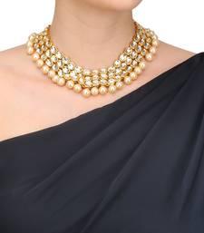 Buy Gold plated kundan 3 line choker necklace Necklace online