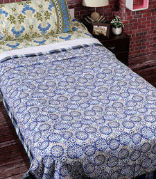 Buy White & Blue Cotton Circular & Checkered Print Single Bed Dohar (Set of 2) duvet-cover online