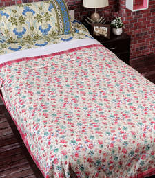 Buy White, Pink & Green Cotton Floral & Chekered Print Single Bed Dohar (Set of 2) duvet-cover online