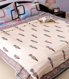 Buy Pure Cotton Block Print Duvet Cover in shades of Blue duvet-cover online