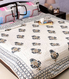 Lush Floral Pattern Block Print Double Duvet Cover