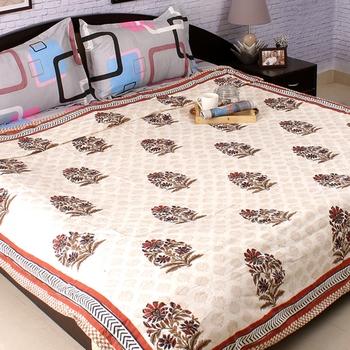 Paradise Floral Block Print Pure Cotton Duvet Cover