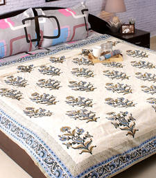 Block Print Pure Cotton Double Duvet Covers In Blue And Green