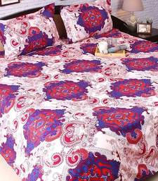 Mauve & Beige Polyester King Size Bedsheet With Classic Royal Print