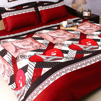 Maroon Polyester Double Bedsheet with Big Contemporary Print
