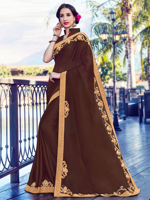 Brown zari work and patch work and and stone on patch design satin saree with blouse