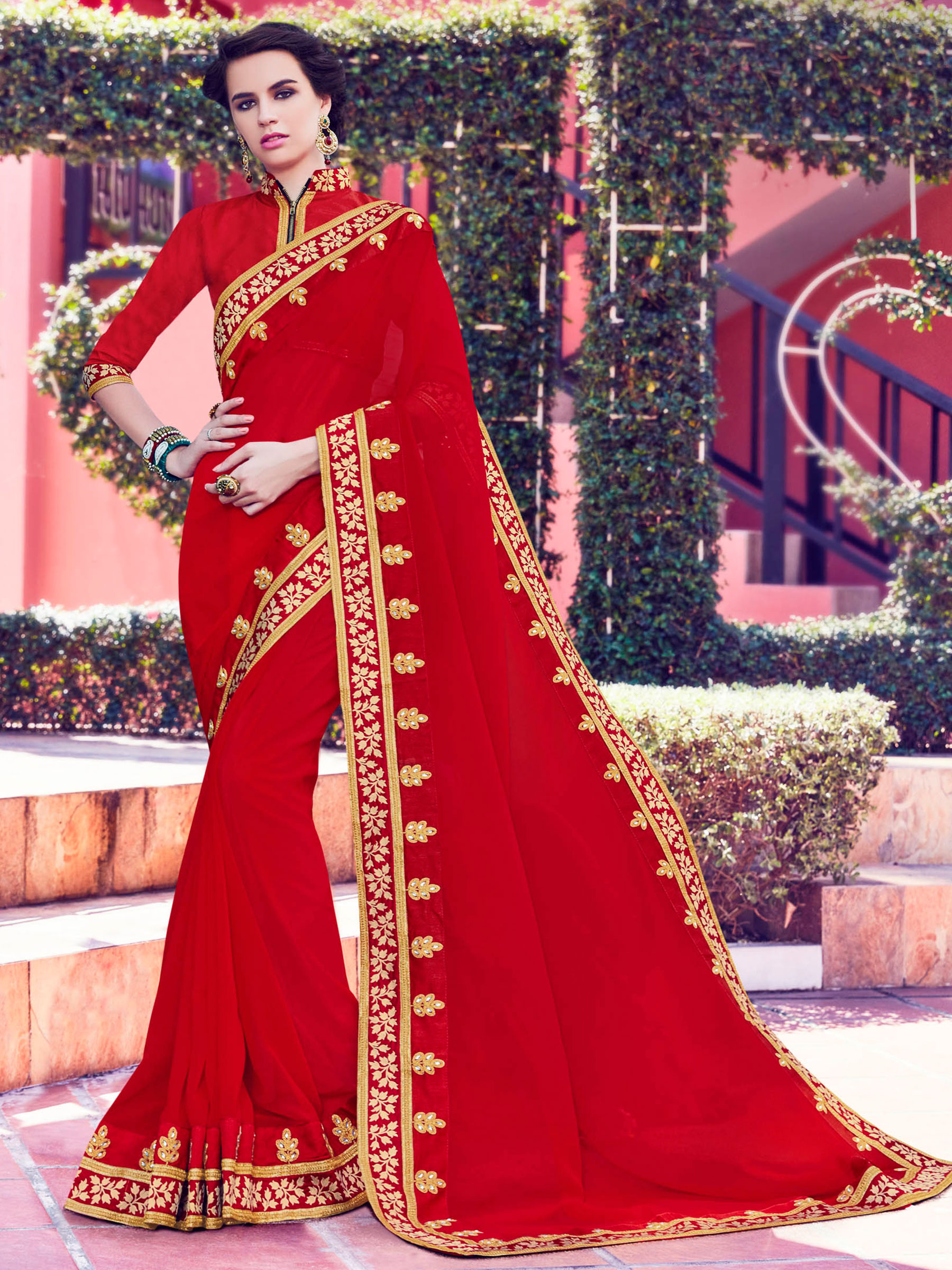 11ee8b46ec Red zari and patch and and stone on patch design georgette saree with  blouse - Indian Women Fashions Pvt Ltd - 1758800