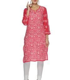 Buy Pink embroidered georgette embroidered-kurtis embroidered-kurti online