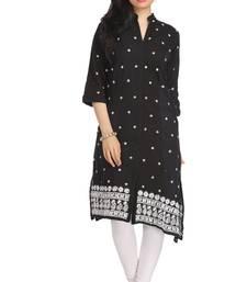 Ada Black Hand embroidered cotton Chikan kurtis