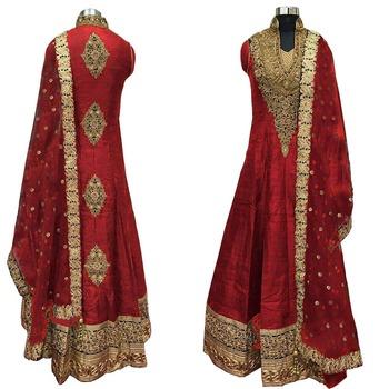 Red thread embroidery cotton silk semi stitched salwar with dupatta