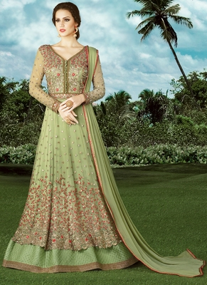 Pale green  embroidered net semi stitched Anarkali Suit