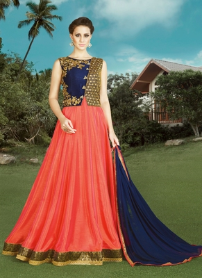 Dark orange embroidered silk semi stitched Anarkali Suit