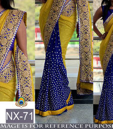 Buy New Arrival Saree ( By Design Women's Georgette Saree With Raw Silk Blouse ) bridal-saree online