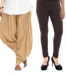 Buy Beige and Brown Cotton and Lycra Patiala and Legging patiala-leggings-combo online