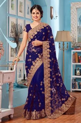 IndianEFashion Blue Georgette With Net  Embroidery  Half & Half Self Designer Saree