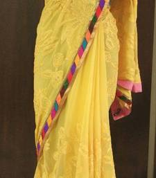 BRILLIANT YELLOW AARI WORK GEORGETTE SAREE shop online