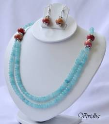 Buy  Two Layer Light Blue and Dull Red beads Necklace Set Jewelry necklace-set online