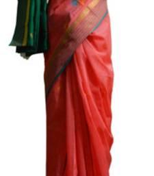 Buy Banarasi Art Silk Carrot Pink Saree With Zari Work and Blouse banarasi-silk-saree online