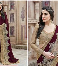Buy Light Maroon embroidered georgette saree with blouse georgette-saree online