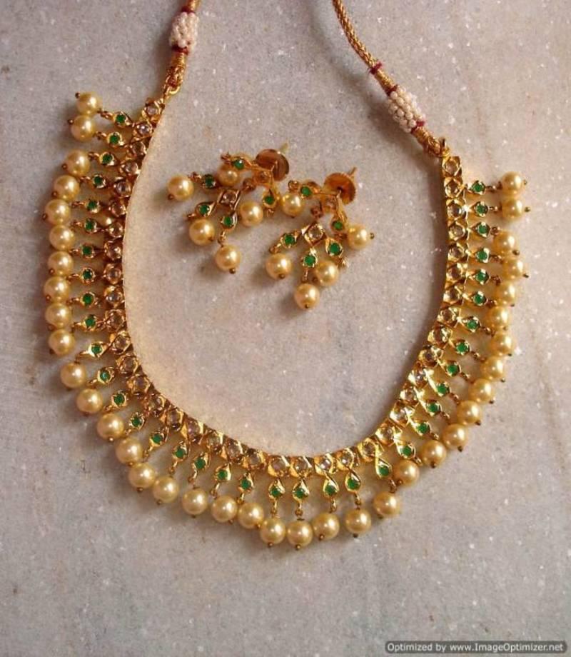 Buy Uncut diamond cut South sea pearls short necklace Online