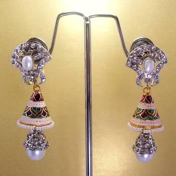 Meenakari Victorian Combo Earrings (Pearls)