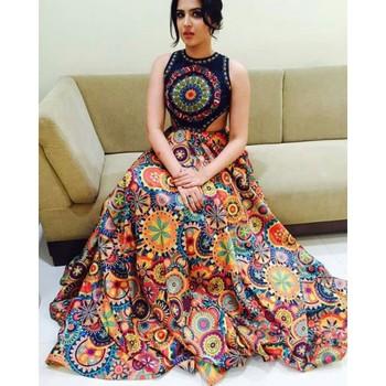 a67b559ab3 multicolor printed Tapeta silk lehenga with choli - Today Bazar ...