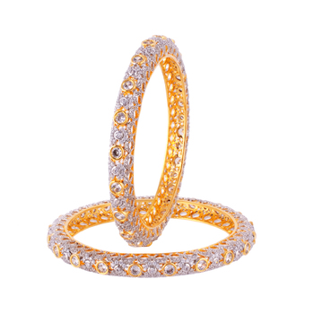 Gold Silver Diamond Royal Bangle
