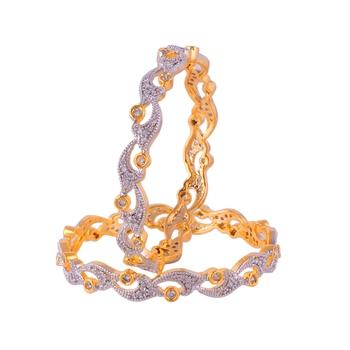 Golden Silver Diamond Classic Designer Bangle