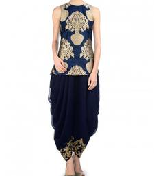 Buy Blue printed pure banarasi unstitched salwar patiala-salwar online