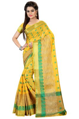 Lemon printed pure kanjivaram silk saree with blouse