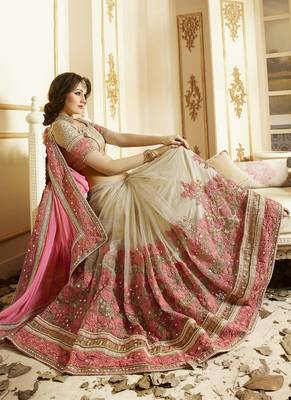 Light hot pink embroidered super net saree with blouse