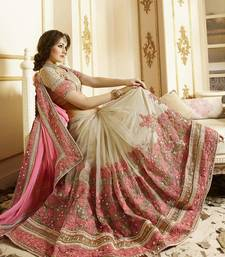 Buy Light hot pink embroidered super net saree with blouse net-saree online