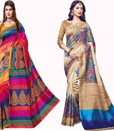 Buy Multicolor printed cotton silk saree with blouse diwali-combo-offer online