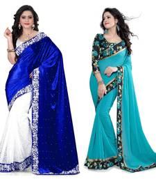 Multicolor plain velvet saree with blouse