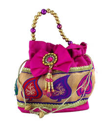 Buy Goldencollections Pink Leaf Hand Pouch potli-bag online